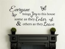 Everyone Brings Joy to this house..., Wall Art Quote, Decal, Modern Transfer